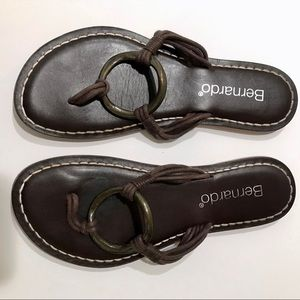 Bernardo brown metal ring flip flop sandals 9